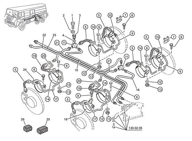 Bremsleitung hinten C, D, E, F, P